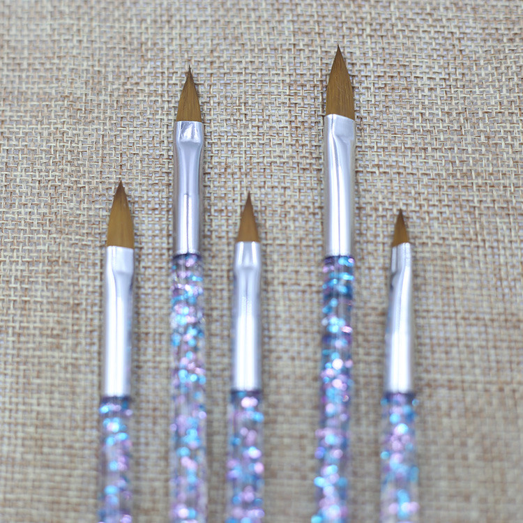 5pcs nail crystal pen and carved pen Crystal nail extender special pen brush