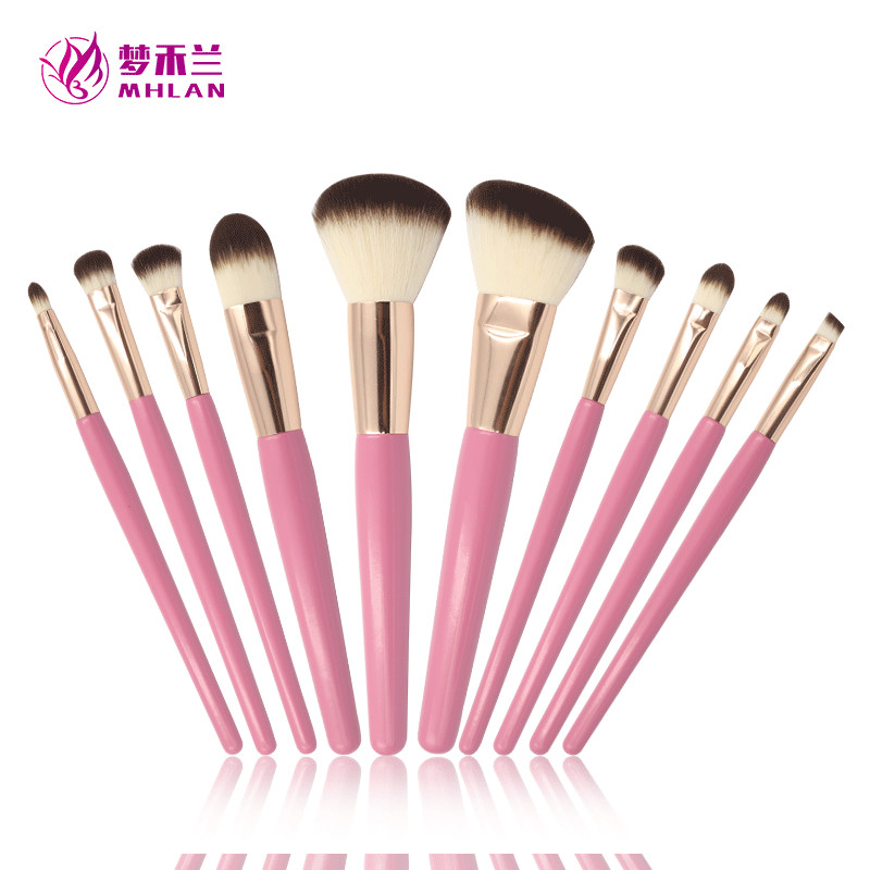10 pcs customized romantic pink makeup brush set