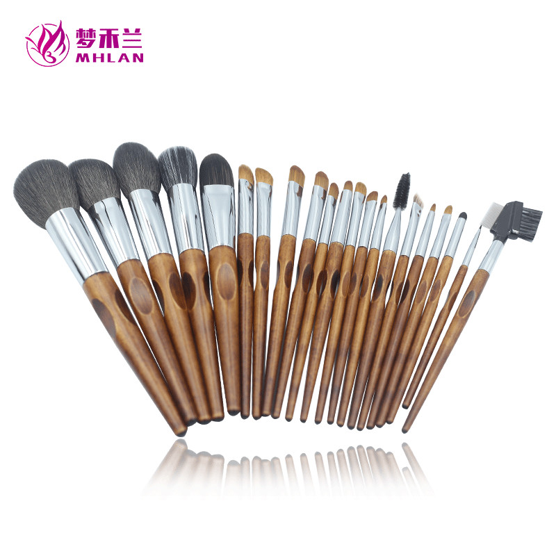 Factory customized 21 pcs wool makeup brush set with free bags
