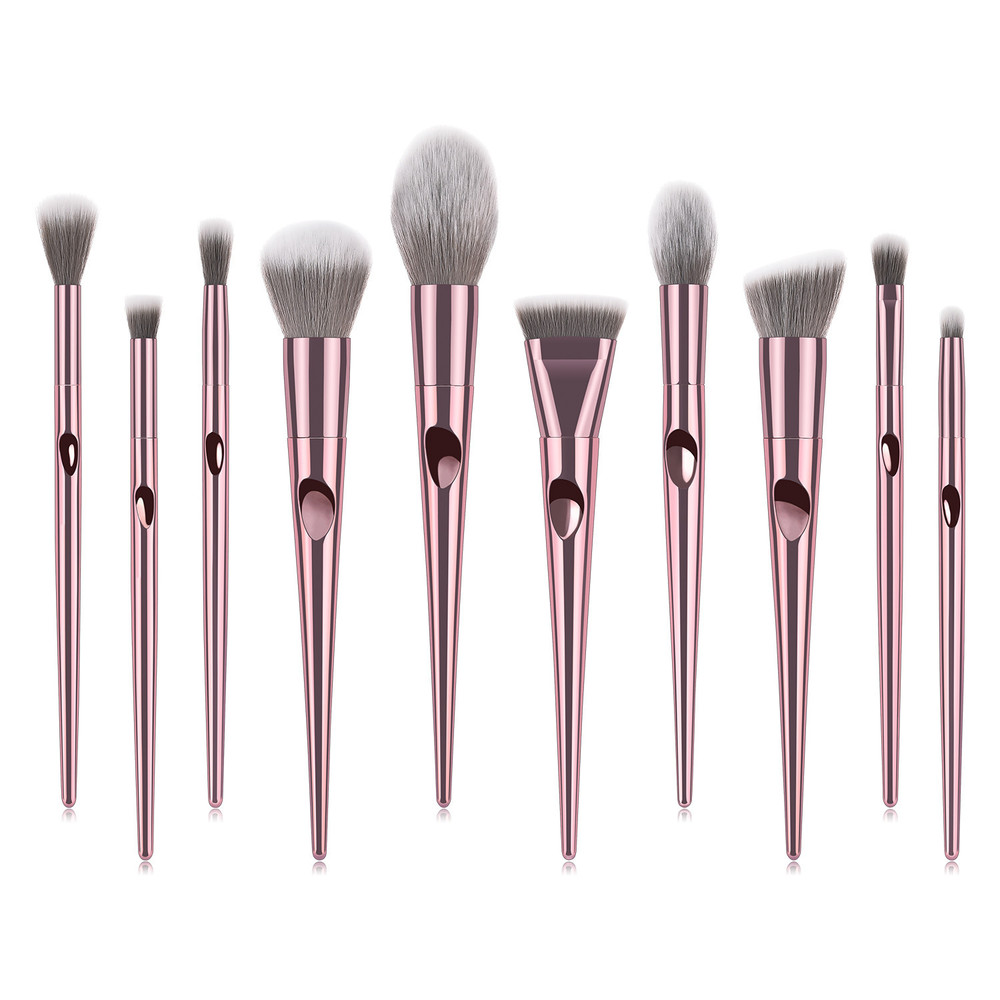 10 pcs pink  cone fingerprint handle complete makeup brush set
