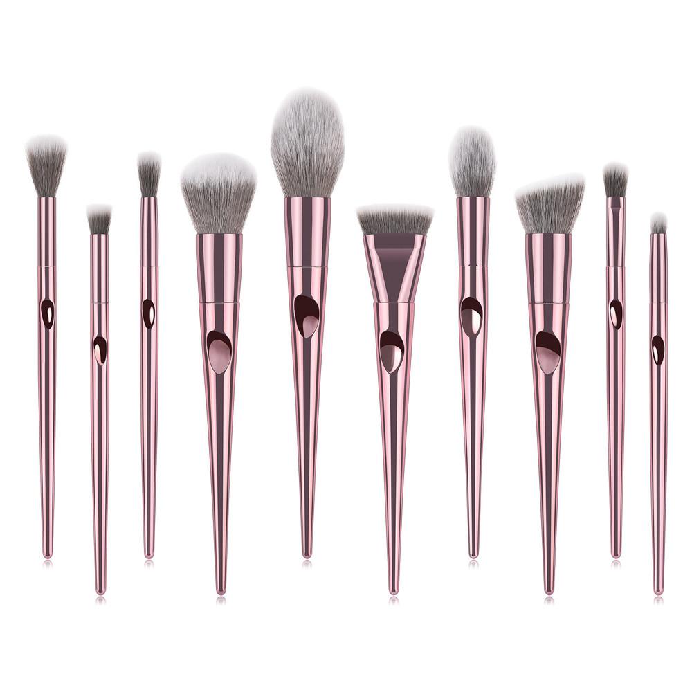 10 pcs pink  cone fingerprint handle complete makeup brush set