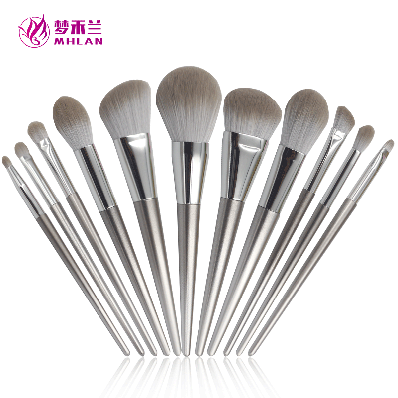Plastic handle 11 pcs makeup brush set