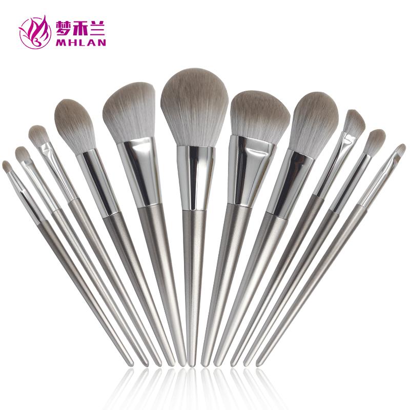 Plastic handle 11 pcs makeup brush set