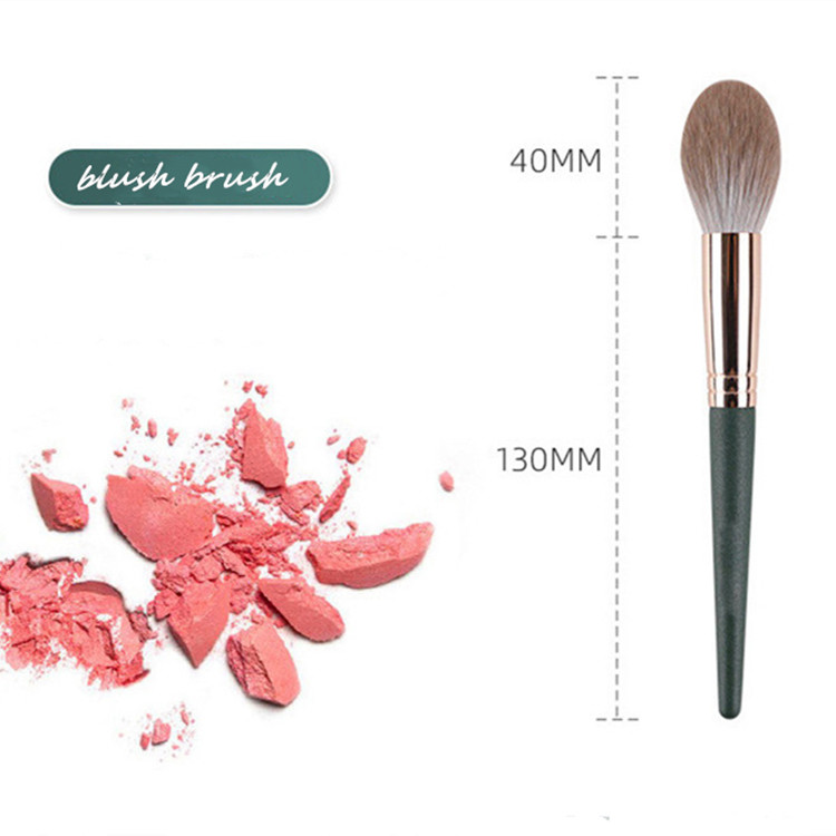 MHLAN Dark Green Wood Handle Super Soft Blush Brush