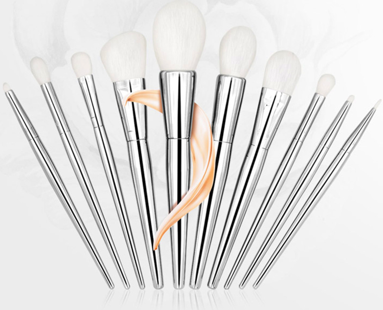 Mhlan 10pcs silver blush brush and face brush makeup tools with synthetic fiber