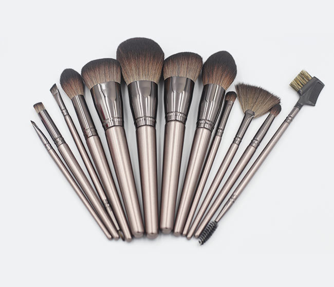 12 pcs brown mhlan cosmetic brush set with nanofibers mimic hair