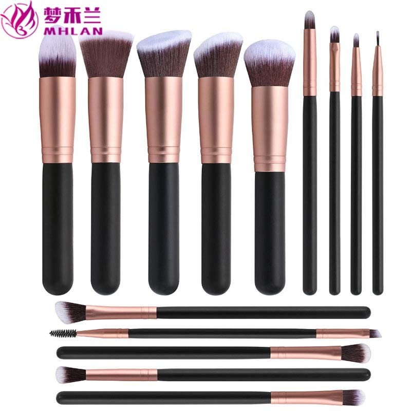 MHLAN 14 pcs 16 pcs wood handle rose gold ferrule makeup brushes set