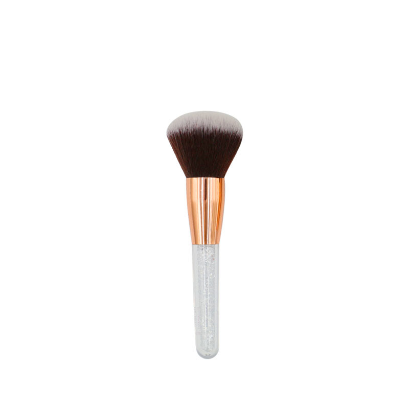 MHLAN Rhinestone Handle Rose Gold Ferrule Brown with White Hair Powder Brush
