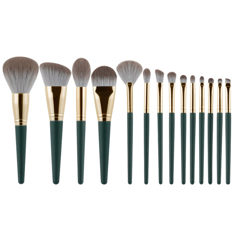 Unique Design 14 pcs Wood Handle with Super Soft Nano fiber bristle Makeup Brush Set